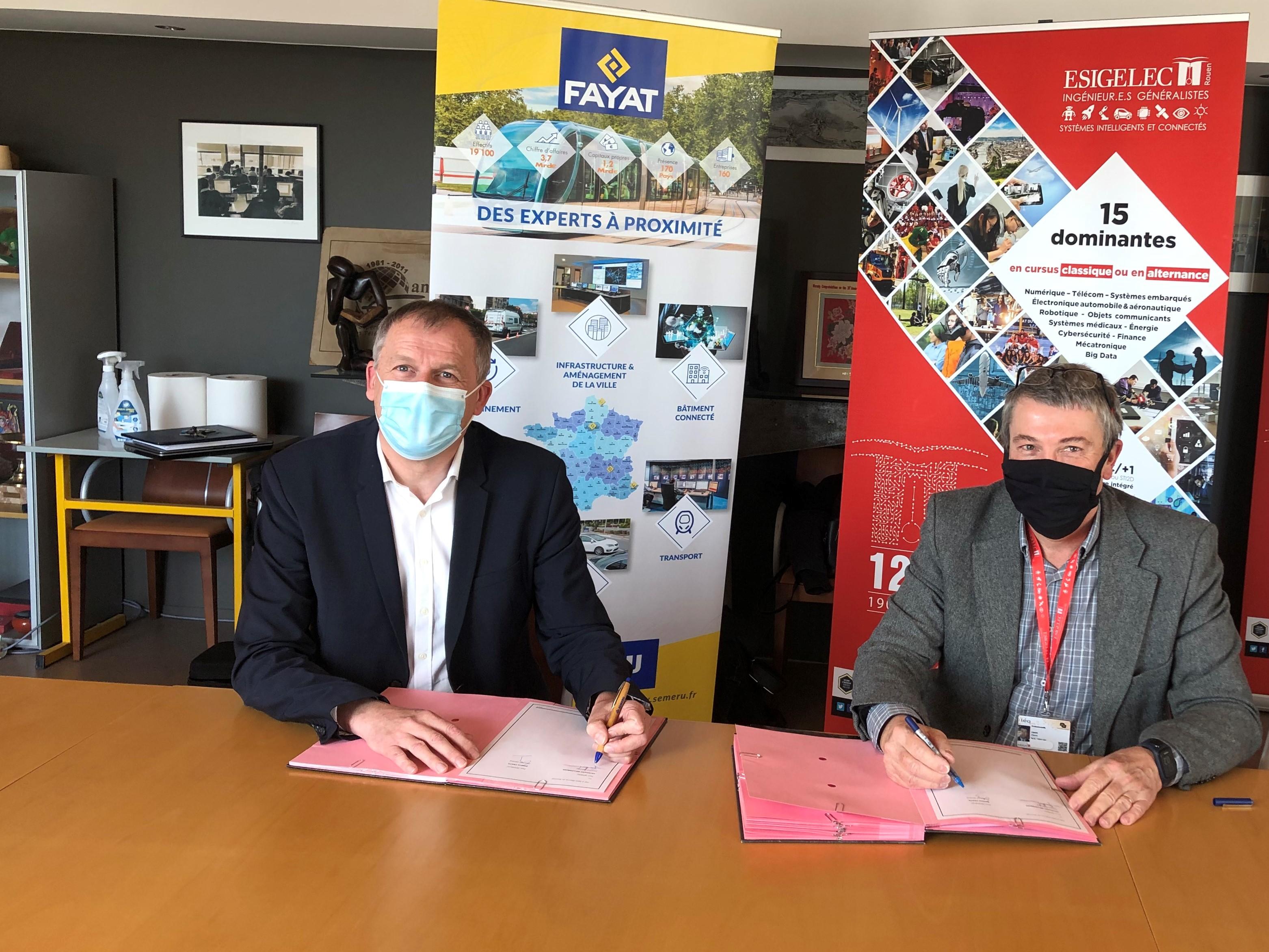 Convention de partenariat entre l'ESIGELEC et l'entreprise SEMERU-FAYAT Energie Services